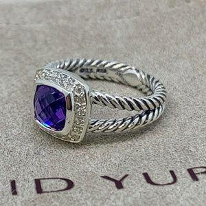 David Yurman Petite Albion Ring Amethyst Diamonds